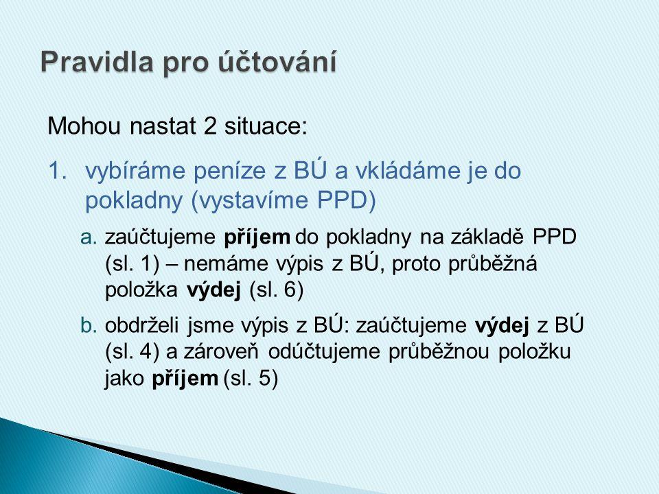 Mohou nastat 2 situace: 1.vybíráme peníze z BÚ a vkládáme je do pokladny (vystavíme PPD) a.zaúčtujeme příjem do pokladny na základě PPD (sl. 1) – nemá
