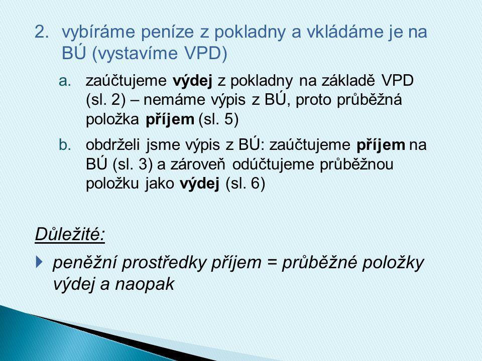 2.vybíráme peníze z pokladny a vkládáme je na BÚ (vystavíme VPD) a.zaúčtujeme výdej z pokladny na základě VPD (sl. 2) – nemáme výpis z BÚ, proto průbě