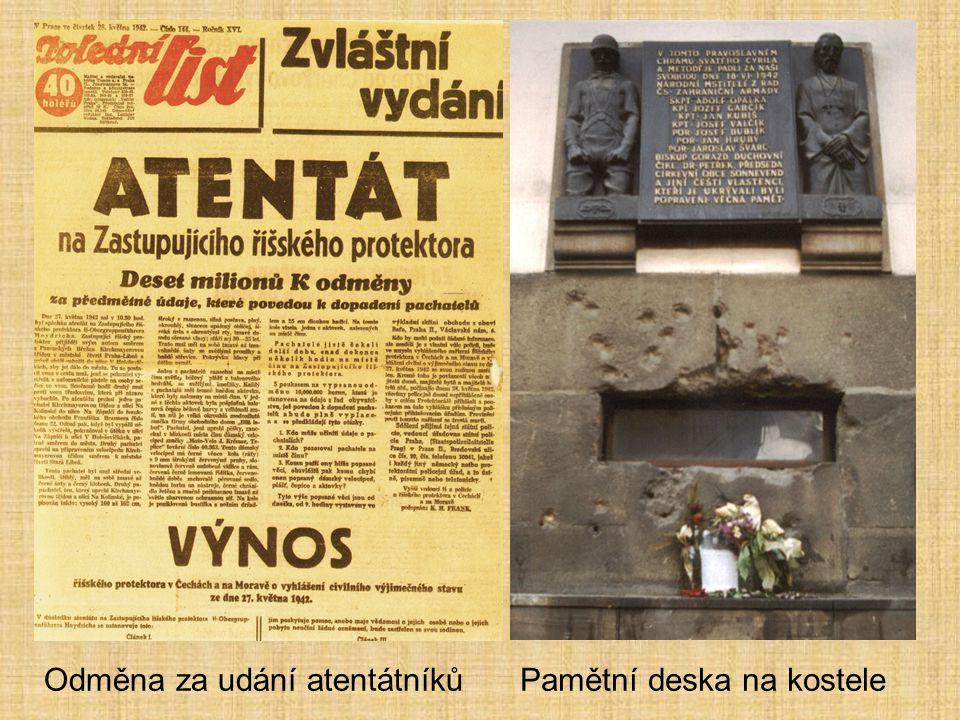 Odměna za udání atentátníkůPamětní deska na kostele