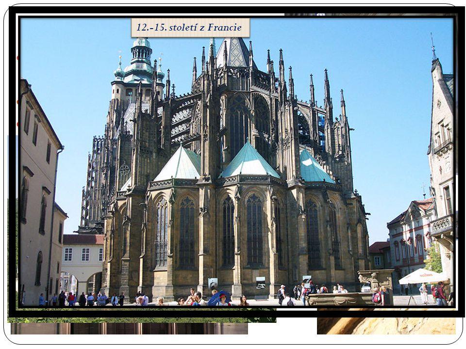 GOTIKA  Vysoké stavby s věžičkami, chrliče, kruhová zdobená okna  Okna zakončená lomeným obbloukem  Opěrné oblouky a pilíře 12.-15. století z Franc
