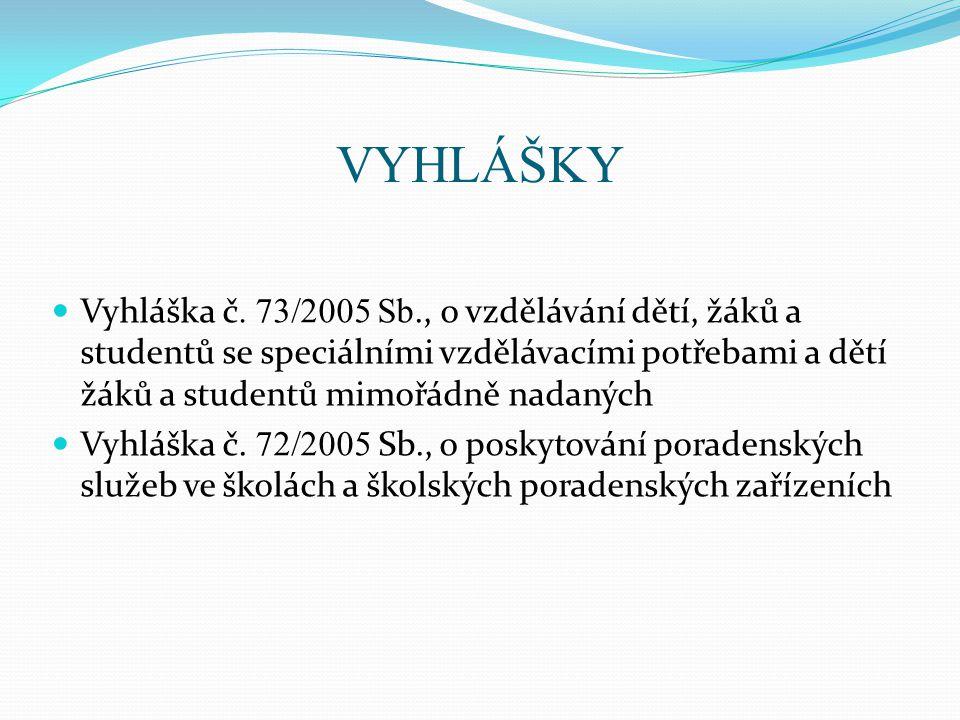 VYHLÁŠKY  Vyhláška č. 73/2005 Sb., o vzdělávání dětí, žáků a studentů se speciálními vzdělávacími potřebami a dětí žáků a studentů mimořádně nadaných