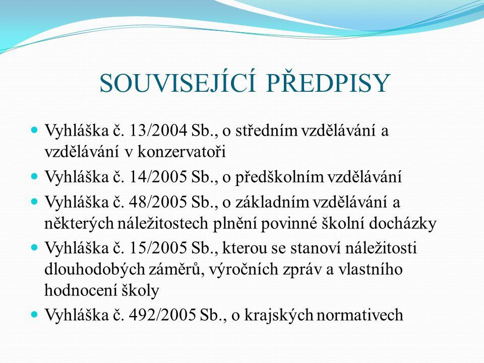 SOUVISEJÍCÍ PŘEDPISY  Vyhláška č. 13/2004 Sb., o středním vzdělávání a vzdělávání v konzervatoři  Vyhláška č. 14/2005 Sb., o předškolním vzdělávání