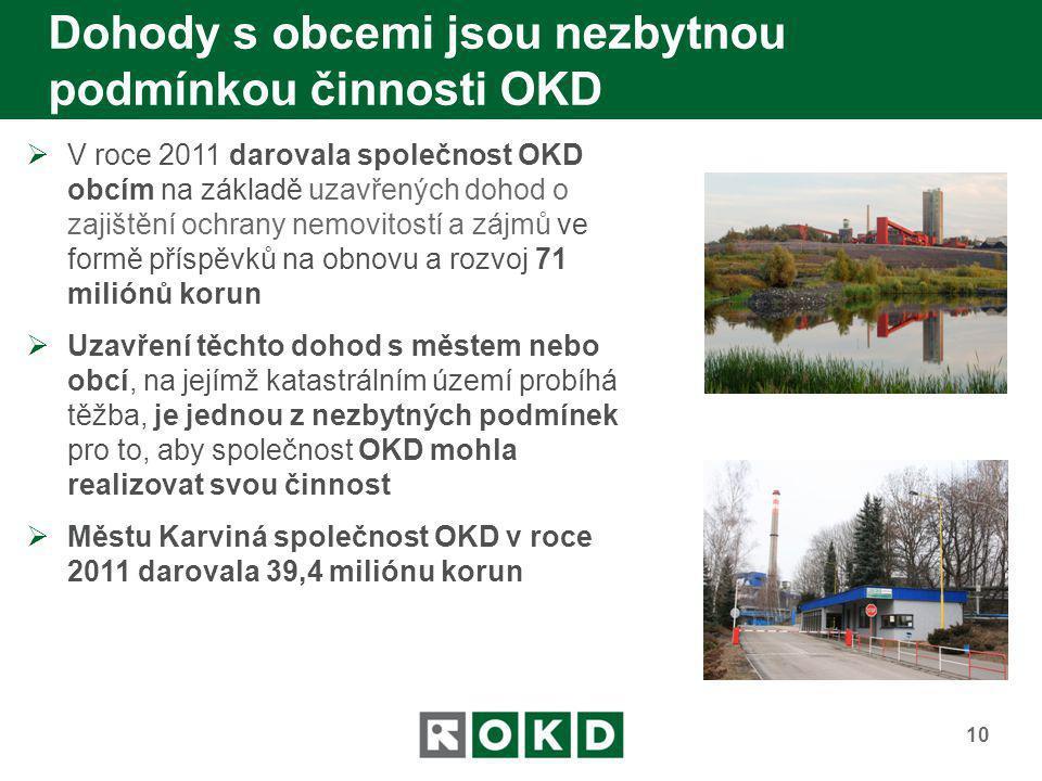 Dohody s obcemi jsou nezbytnou podmínkou činnosti OKD 10  V roce 2011 darovala společnost OKD obcím na základě uzavřených dohod o zajištění ochrany n