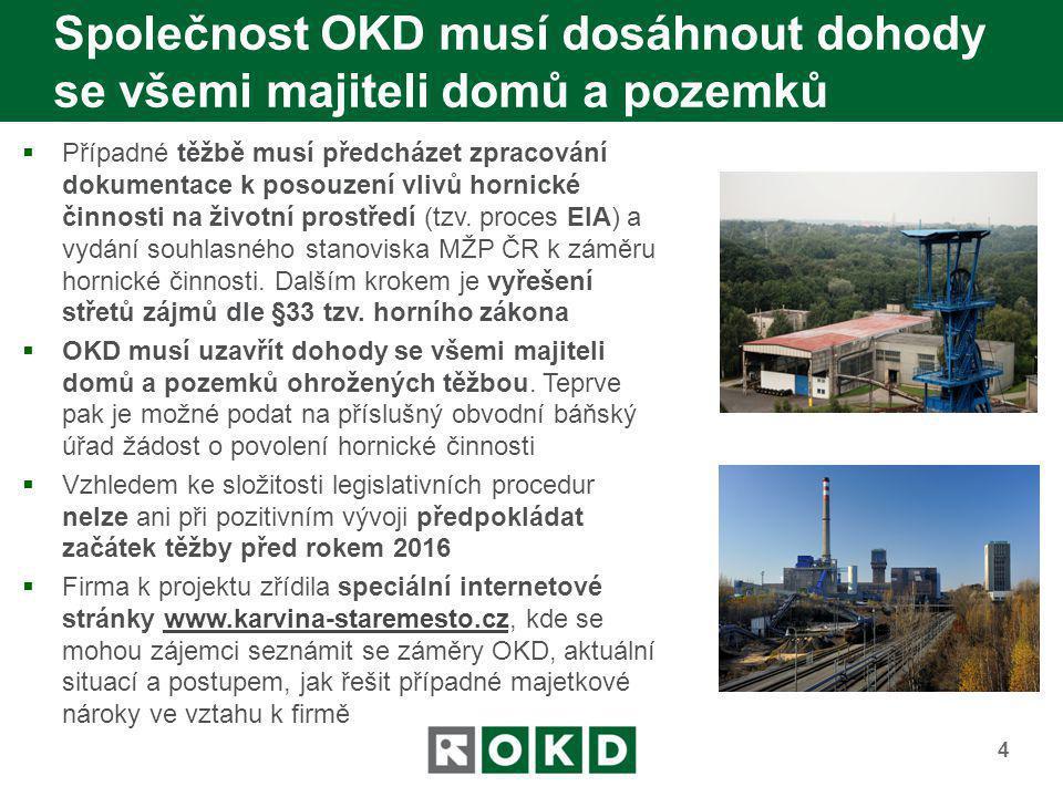 Společnost OKD musí dosáhnout dohody se všemi majiteli domů a pozemků  Případné těžbě musí předcházet zpracování dokumentace k posouzení vlivů hornic