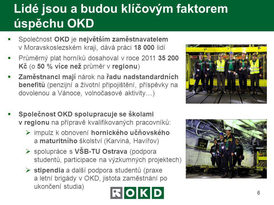 Lidé jsou a budou klíčovým faktorem úspěchu OKD 6  Společnost OKD je největším zaměstnavatelem v Moravskoslezském kraji, dává práci 18 000 lidí  Prů
