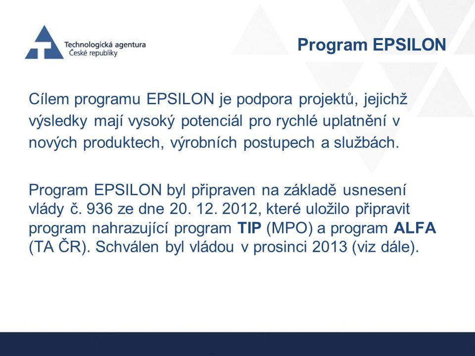 Program EPSILON Program musí respektovat Národní priority orientovaného výzkumu, experimentálního vývoje a inovací (NPOV), které byly přijaty usnesením vlády č.