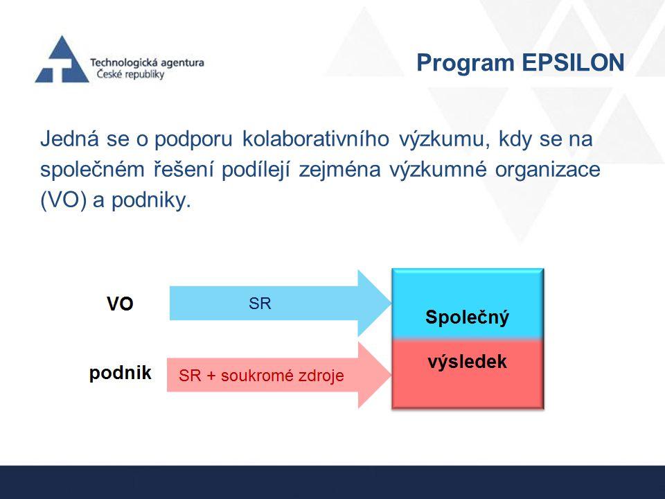 Program EPSILON Program vychází z prioritních oblasti NPOV: 1.Konkurenceschopná ekonomika založená na znalostech.