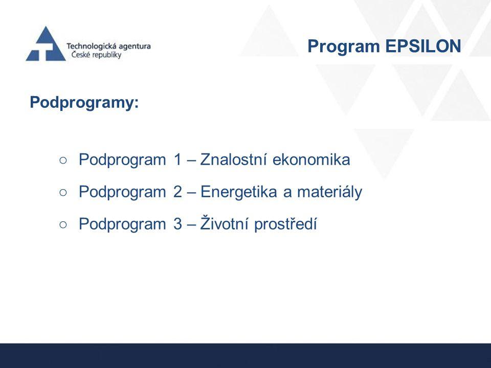 Program EPSILON První tři priority NPOV zahrnují 77 cílů VaVaI.