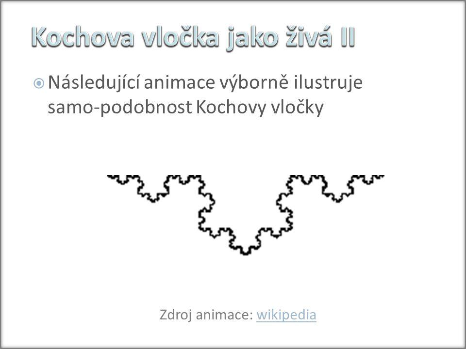  Následující animace výborně ilustruje samo-podobnost Kochovy vločky Zdroj animace: wikipediawikipedia