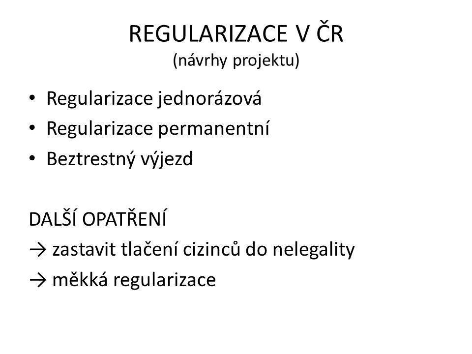 REGULARIZACE V ČR (návrhy projektu) • Regularizace jednorázová • Regularizace permanentní • Beztrestný výjezd DALŠÍ OPATŘENÍ → zastavit tlačení cizinc