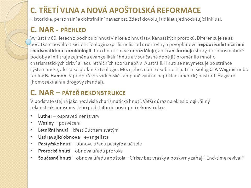 C.TŘETÍ VLNA A NOVÁ APOŠTOLSKÁ REFORMACE Historická, personální a doktrinální návaznost.