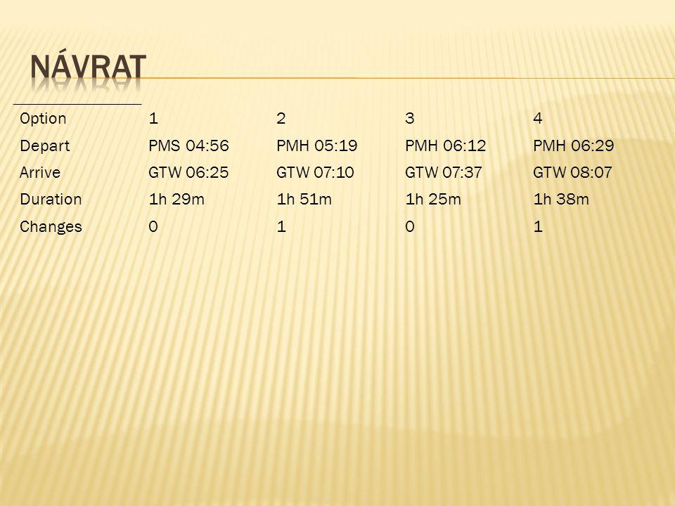 Option1234 DepartPMS 04:56PMH 05:19PMH 06:12PMH 06:29 ArriveGTW 06:25GTW 07:10GTW 07:37GTW 08:07 Duration1h 29m1h 51m1h 25m1h 38m Changes0101