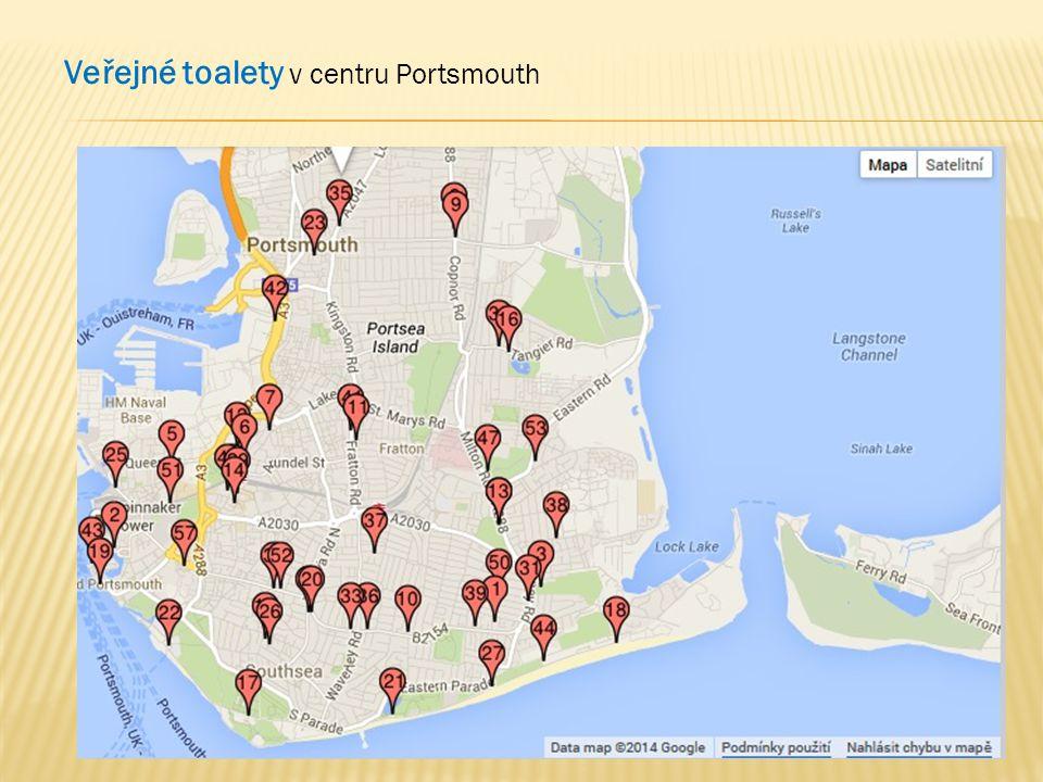 Veřejné toalety v centru Portsmouth