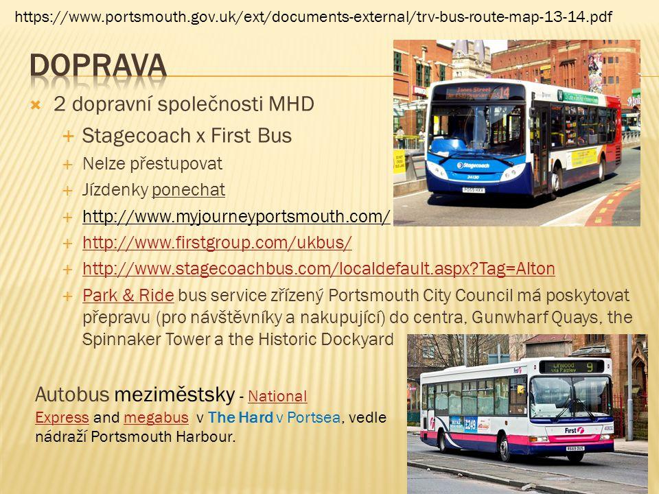  2 dopravní společnosti MHD  Stagecoach x First Bus  Nelze přestupovat  Jízdenky ponechat  http://www.myjourneyportsmouth.com/  http://www.first