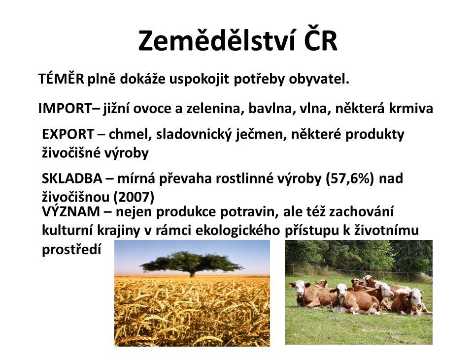 Zemědělství ČR TÉMĚR plně dokáže uspokojit potřeby obyvatel. IMPORT– jižní ovoce a zelenina, bavlna, vlna, některá krmiva EXPORT – chmel, sladovnický