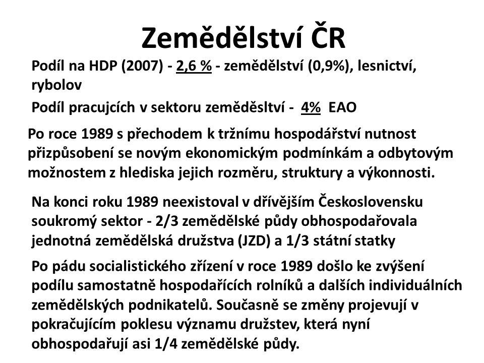 Zemědělství ČR Podíl na HDP (2007) - 2,6 % - zemědělství (0,9%), lesnictví, rybolov Po roce 1989 s přechodem k tržnímu hospodářství nutnost přizpůsobe
