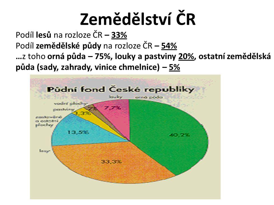 Zemědělství ČR Podíl lesů na rozloze ČR – 33% Podíl zemědělské půdy na rozloze ČR – 54% …z toho orná půda – 75%, louky a pastviny 20%, ostatní zeměděl