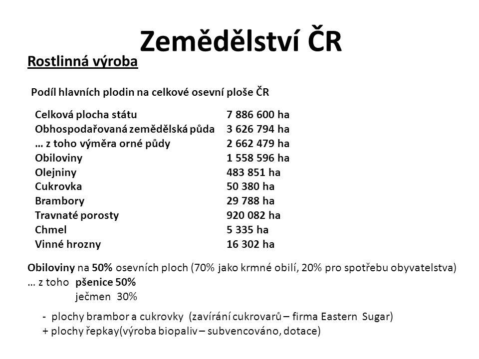 Zemědělství ČR Česká republika byla rozdělena na pět výrobních oblastí a jedenadvacet podoblastí: Kukuřičná – pět podoblastí (K1 - K5), 6,7% zemědělské půdy Řepařská – pět podoblastí (Ř1 - Ř5), 24,3% zemědělské půdy Obilnářská – čtyři podoblasti (O1 - O4), 40,5% zemědělské půdy Bramborářská – čtyři podoblasti (B1 - B4), 18,5% zemědělské půdy Pícninářská – tři podoblasti (P1 - P3), 10,0% zemědělské půdy Zemědělské výrobní oblasti (Vymezení zemědělských oblastí a podoblastí z roku 1996.) Více viz.