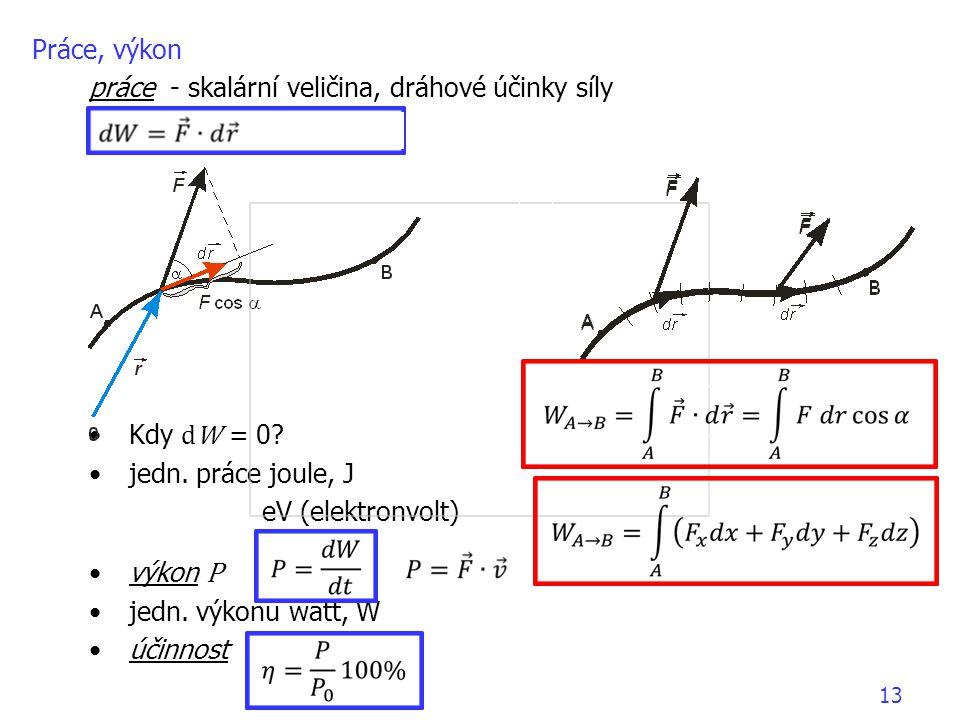 13 •Kdy dW = 0? •jedn. práce joule, J eV (elektronvolt) •výkon P •jedn. výkonu watt, W •účinnost Práce, výkon práce - skalární veličina, dráhové účink