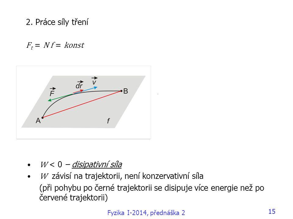 Fyzika I-2014, přednáška 2 15 •W < 0 – disipativní síla •W závisí na trajektorii, není konzervativní síla (při pohybu po černé trajektorii se disipuje více energie než po červené trajektorii) 2.