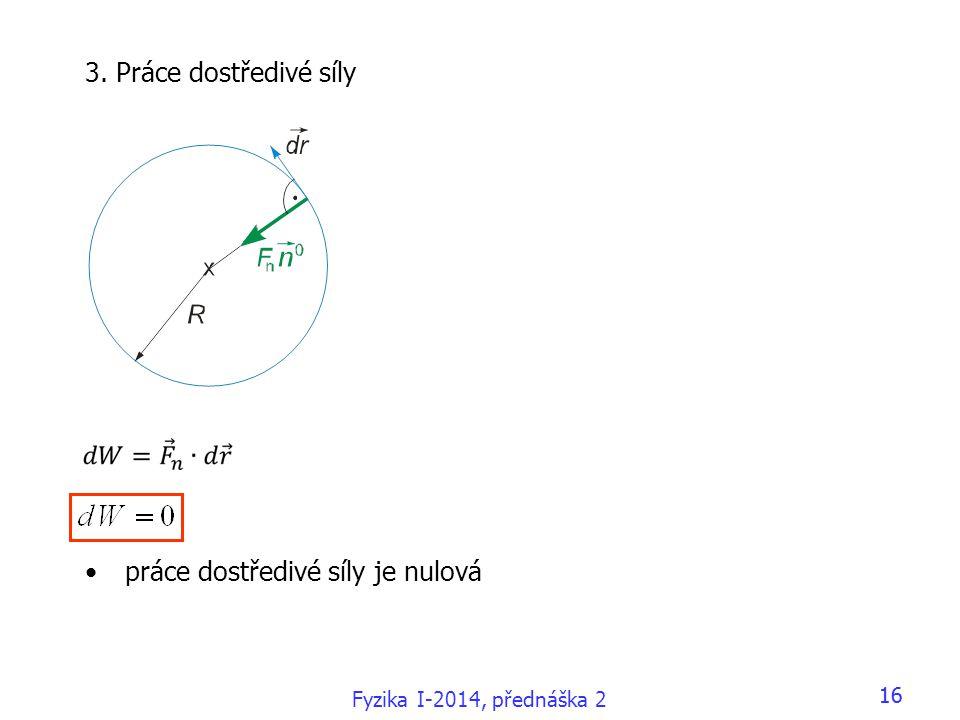 Fyzika I-2014, přednáška 2 16 3. Práce dostředivé síly •práce dostředivé síly je nulová