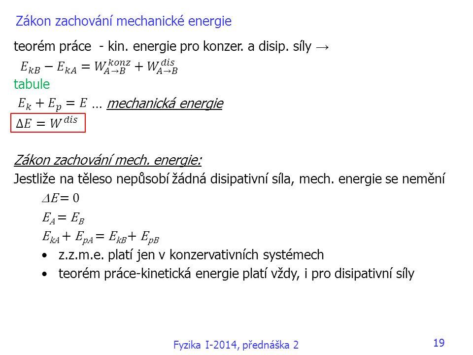 Fyzika I-2014, přednáška 2 19 Zákon zachování mechanické energie teorém práce - kin. energie pro konzer. a disip. síly → tabule … mechanická energie Z