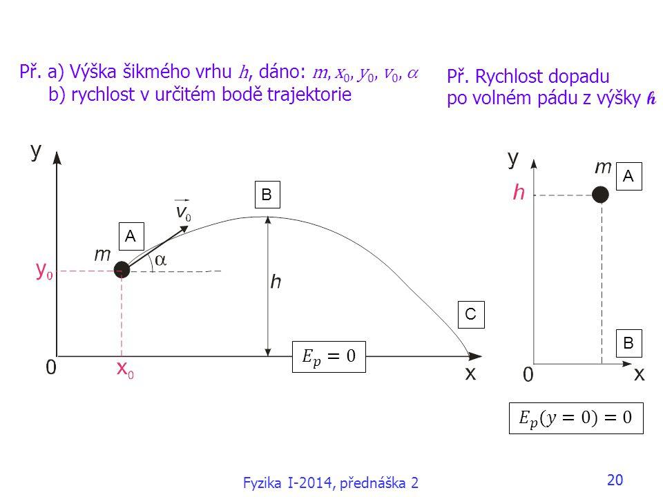 Fyzika I-2014, přednáška 2 20 Př. a) Výška šikmého vrhu h, dáno: m, x 0, y 0, v 0,  b) rychlost v určitém bodě trajektorie A B C A B Př. Rychlost dop