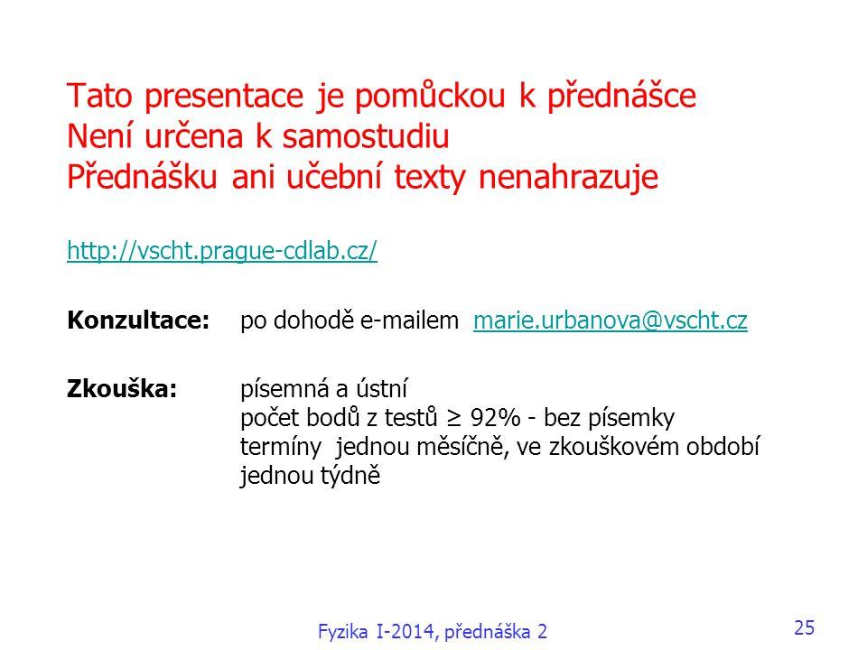 Tato presentace je pomůckou k přednášce Není určena k samostudiu Přednášku ani učební texty nenahrazuje http://vscht.prague-cdlab.cz/ Konzultace:po dohodě e-mailem marie.urbanova@vscht.cz Zkouška: písemná a ústní počet bodů z testů ≥ 92% - bez písemky termíny jednou měsíčně, ve zkouškovém období jednou týdně http://vscht.prague-cdlab.cz/marie.urbanova@vscht.cz Fyzika I-2014, přednáška 2 25