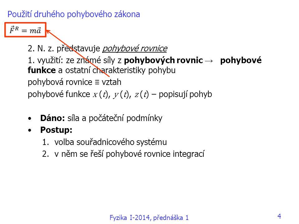Fyzika I-2014, přednáška 1 Použití druhého pohybového zákona 2.