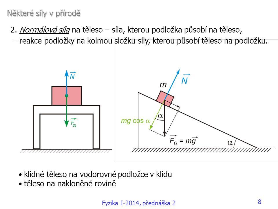 Fyzika I-2014, přednáška 2 88 Některé síly v přírodě •klidné těleso na vodorovné podložce v klidu •těleso na nakloněné rovině 2. Normálová síla na těl