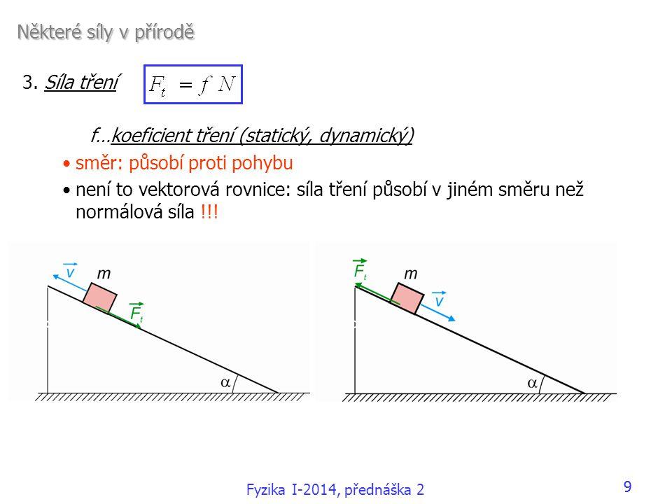 3. Síla tření f…koeficient tření (statický, dynamický) •směr: působí proti pohybu •není to vektorová rovnice: síla tření působí v jiném směru než norm