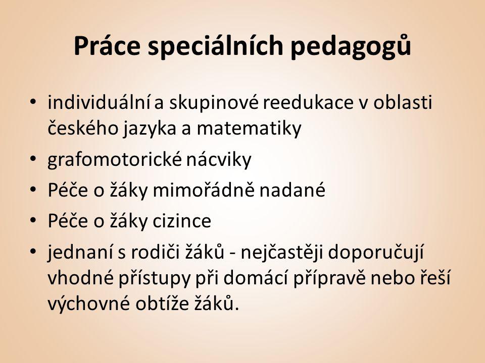 Práce speciálních pedagogů • individuální a skupinové reedukace v oblasti českého jazyka a matematiky • grafomotorické nácviky • Péče o žáky mimořádně nadané • Péče o žáky cizince • jednaní s rodiči žáků - nejčastěji doporučují vhodné přístupy při domácí přípravě nebo řeší výchovné obtíže žáků.