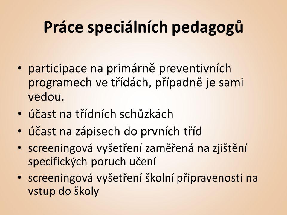 Práce speciálních pedagogů • participace na primárně preventivních programech ve třídách, případně je sami vedou.