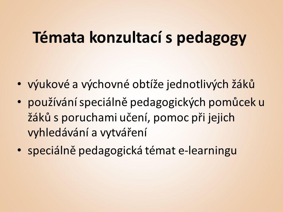 Témata konzultací s pedagogy • výukové a výchovné obtíže jednotlivých žáků • používání speciálně pedagogických pomůcek u žáků s poruchami učení, pomoc při jejich vyhledávání a vytváření • speciálně pedagogická témat e-learningu