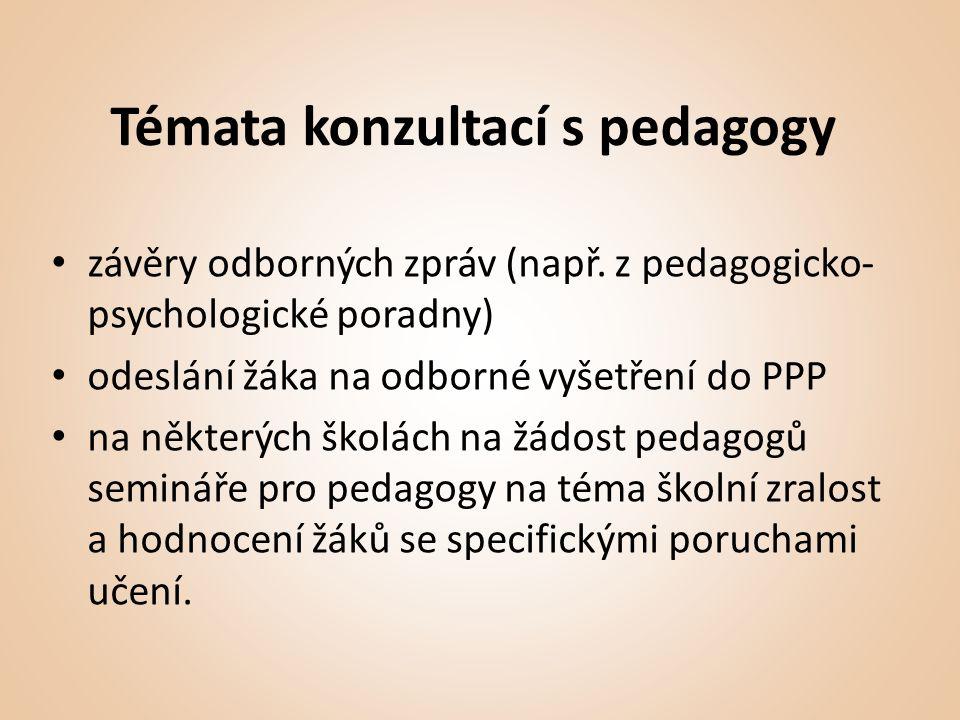 Témata konzultací s pedagogy • závěry odborných zpráv (např.