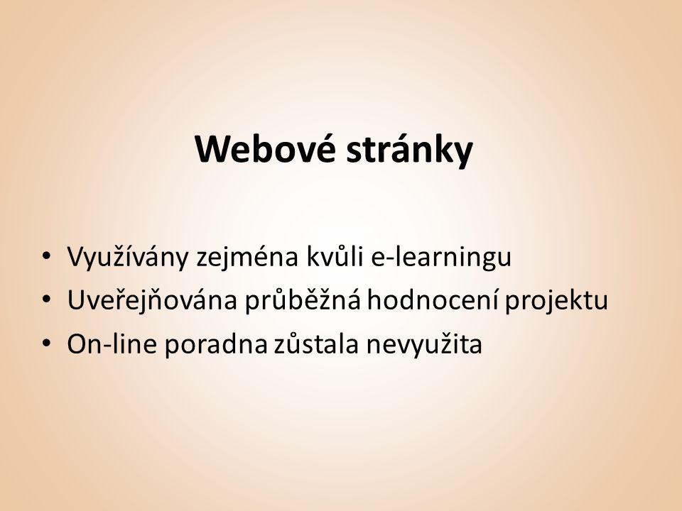 Webové stránky • Využívány zejména kvůli e-learningu • Uveřejňována průběžná hodnocení projektu • On-line poradna zůstala nevyužita