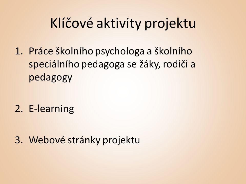 Klíčové aktivity projektu 1.Práce školního psychologa a školního speciálního pedagoga se žáky, rodiči a pedagogy 2.E-learning 3.Webové stránky projektu