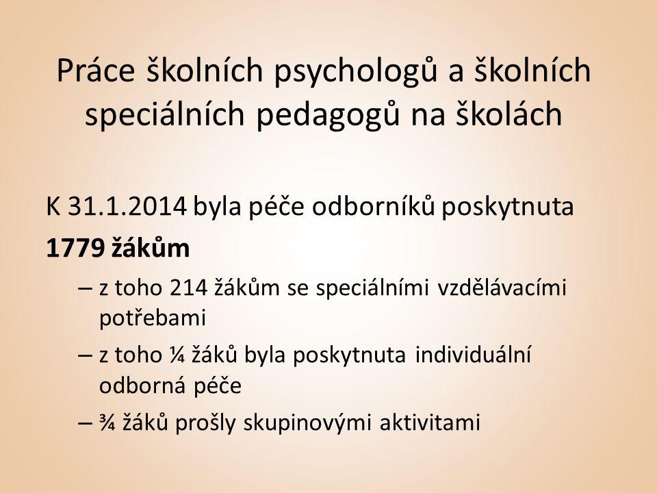 Práce školních psychologů a školních speciálních pedagogů na školách K 31.1.2014 byla péče odborníků poskytnuta 1779 žákům – z toho 214 žákům se speciálními vzdělávacími potřebami – z toho ¼ žáků byla poskytnuta individuální odborná péče – ¾ žáků prošly skupinovými aktivitami