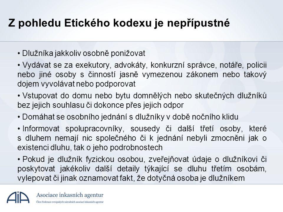 Z pohledu Etického kodexu je nepřípustné • Dlužníka jakkoliv osobně ponižovat • Vydávat se za exekutory, advokáty, konkurzní správce, notáře, policii