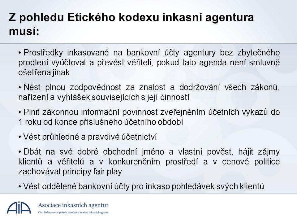 Z pohledu Etického kodexu inkasní agentura musí: • Prostředky inkasované na bankovní účty agentury bez zbytečného prodlení vyúčtovat a převést věřitel