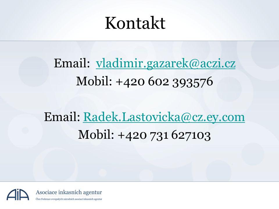 Kontakt Email: vladimir.gazarek@aczi.czvladimir.gazarek@aczi.cz Mobil: +420 602 393576 Email: Radek.Lastovicka@cz.ey.comRadek.Lastovicka@cz.ey.com Mob