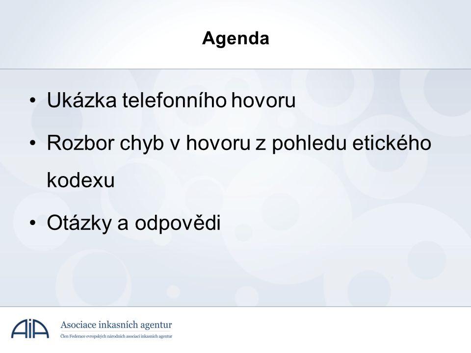 •Ukázka telefonního hovoru •Rozbor chyb v hovoru z pohledu etického kodexu •Otázky a odpovědi Agenda