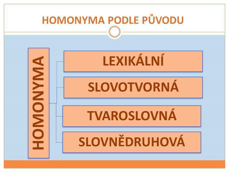 HOMONYMA PODLE PŮVODU HOMONYMA LEXIKÁLNÍ SLOVOTVORNÁ TVAROSLOVNÁ SLOVNĚDRUHOVÁ