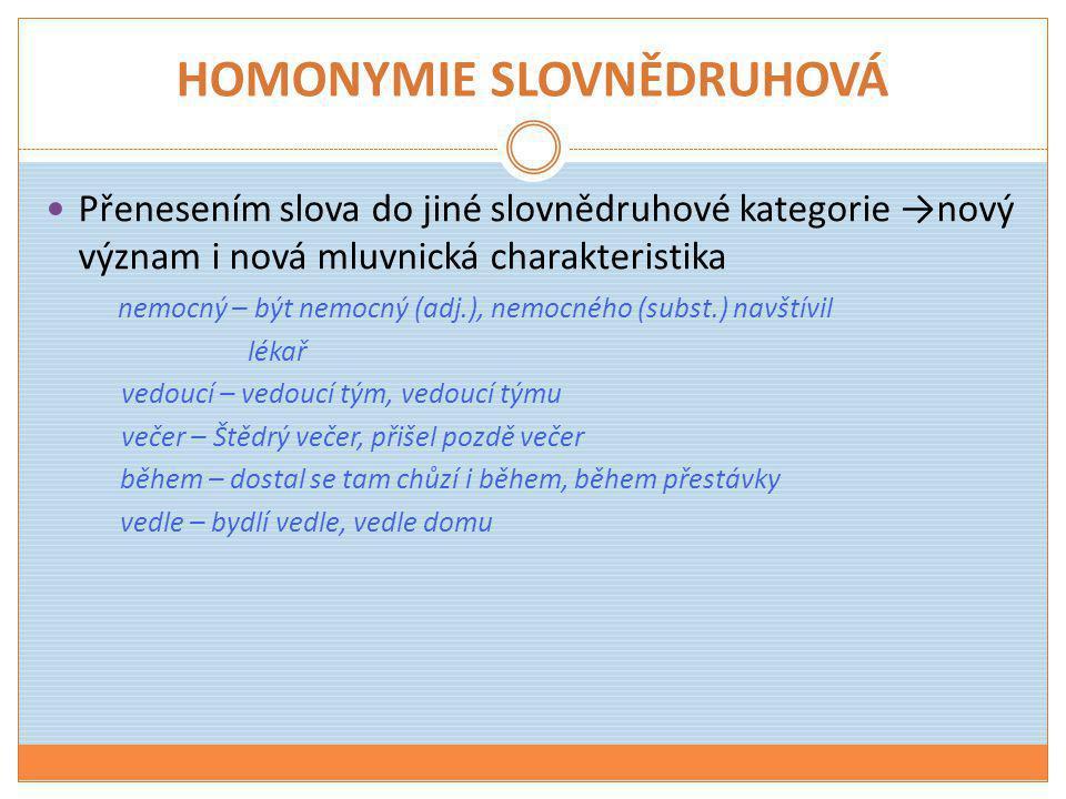 HOMONYMIE SLOVNĚDRUHOVÁ  Přenesením slova do jiné slovnědruhové kategorie →nový význam i nová mluvnická charakteristika nemocný – být nemocný (adj.),