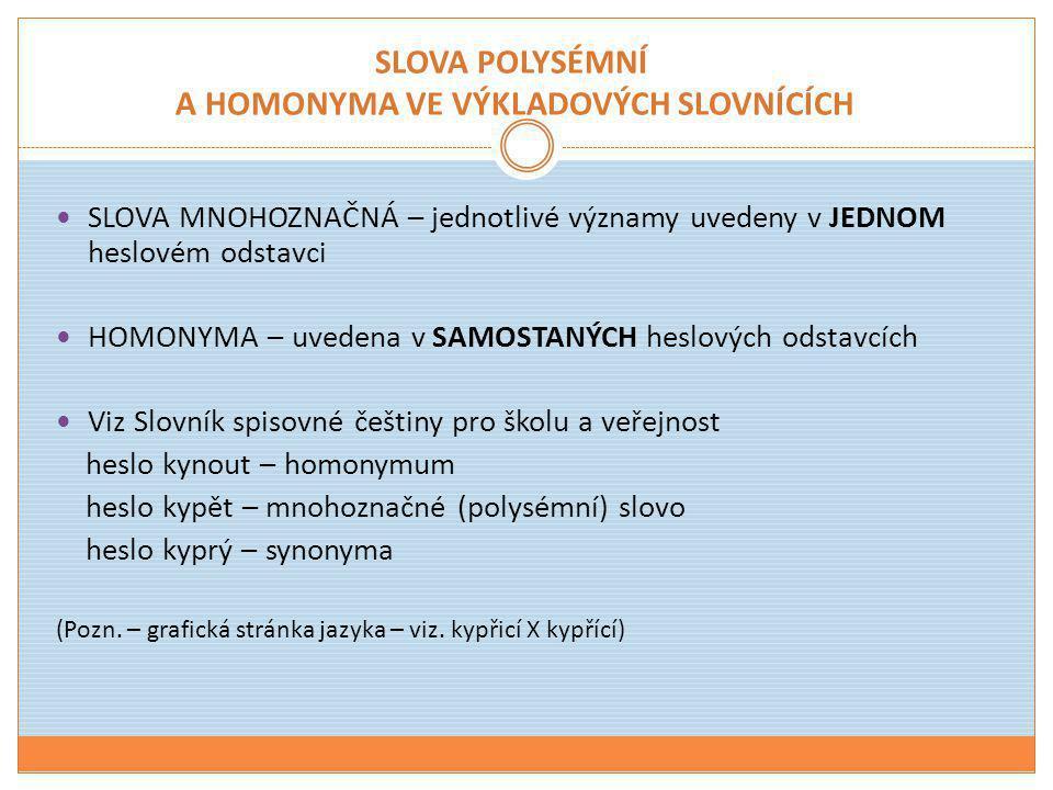 SLOVA POLYSÉMNÍ A HOMONYMA VE VÝKLADOVÝCH SLOVNÍCÍCH  SLOVA MNOHOZNAČNÁ – jednotlivé významy uvedeny v JEDNOM heslovém odstavci  HOMONYMA – uvedena
