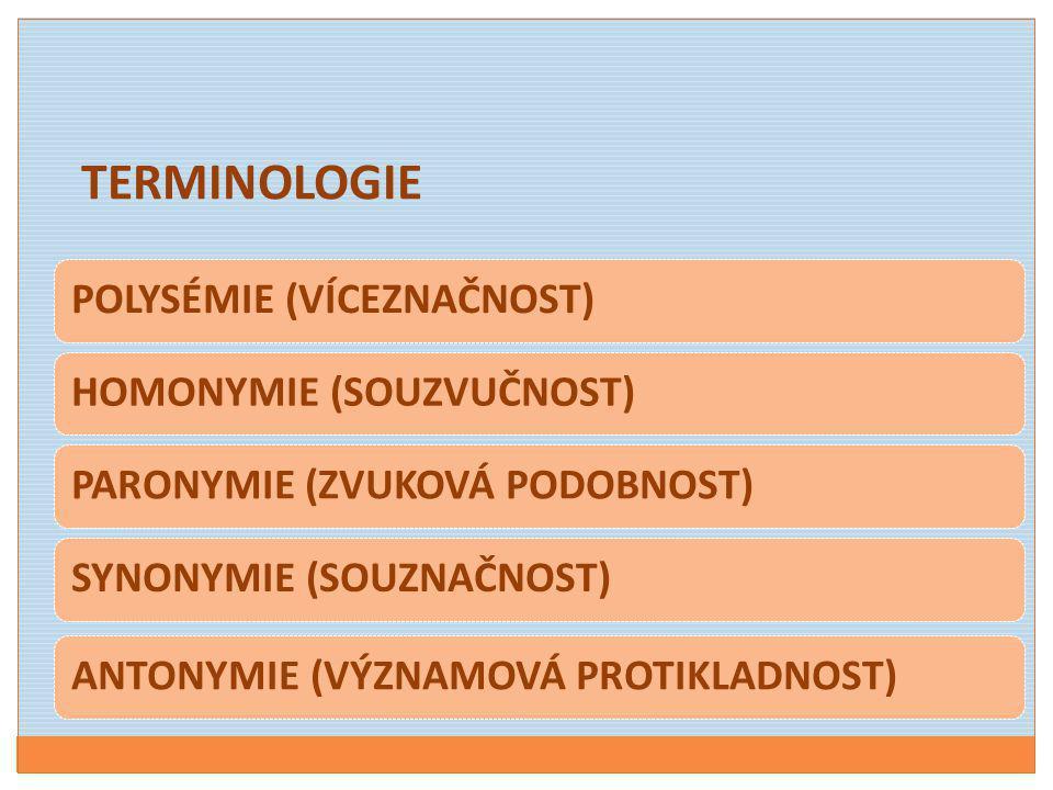 POLYSÉMIE (VÍCEZNAČNOST)HOMONYMIE (SOUZVUČNOST)PARONYMIE (ZVUKOVÁ PODOBNOST)SYNONYMIE (SOUZNAČNOST)ANTONYMIE (VÝZNAMOVÁ PROTIKLADNOST) TERMINOLOGIE