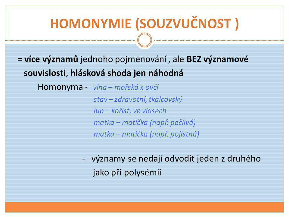 HOMONYMIE (SOUZVUČNOST ) = více významů jednoho pojmenování, ale BEZ významové souvislosti, hlásková shoda jen náhodná Homonyma - vlna – mořská x ovčí