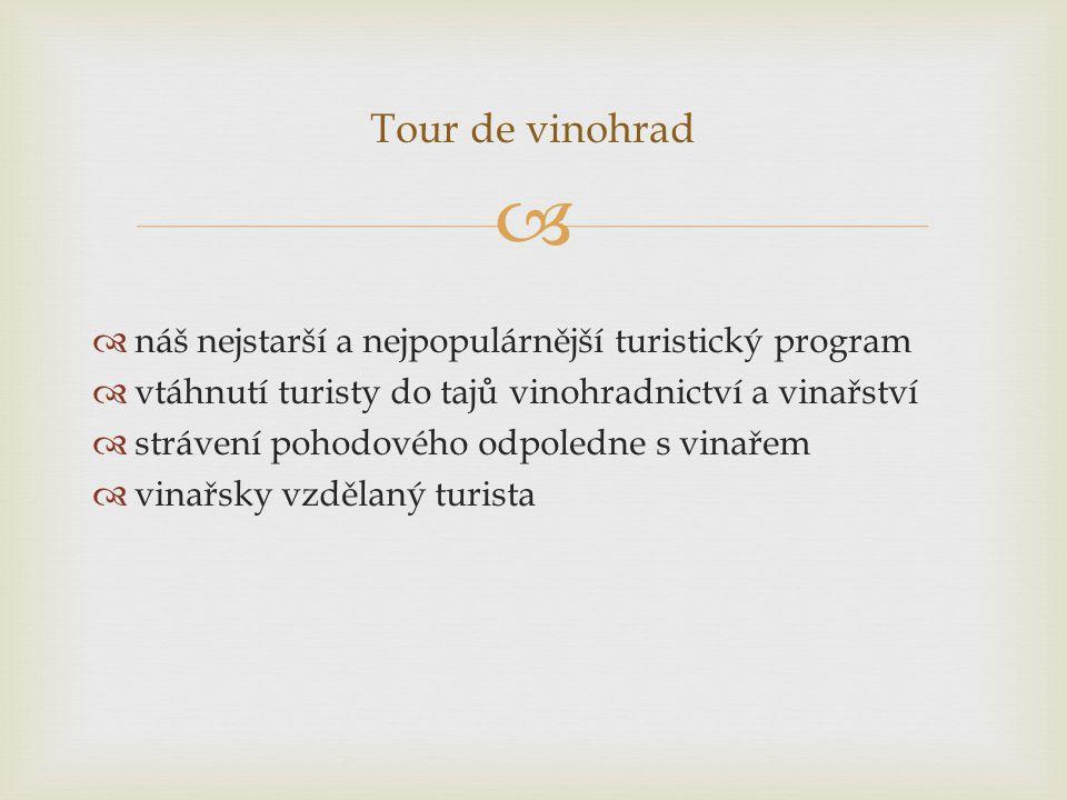   náš nejstarší a nejpopulárnější turistický program  vtáhnutí turisty do tajů vinohradnictví a vinařství  strávení pohodového odpoledne s vinařem