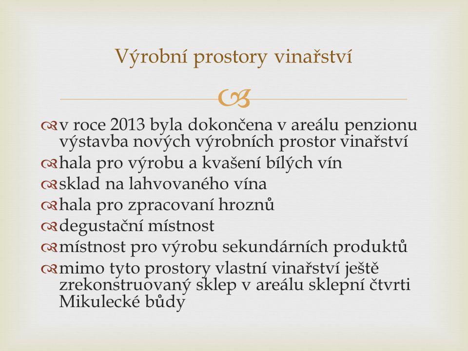   v roce 2013 byla dokončena v areálu penzionu výstavba nových výrobních prostor vinařství  hala pro výrobu a kvašení bílých vín  sklad na lahvova