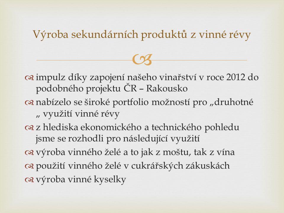 """  impulz díky zapojení našeho vinařství v roce 2012 do podobného projektu ČR – Rakousko  nabízelo se široké portfolio možností pro """"druhotné """" využ"""
